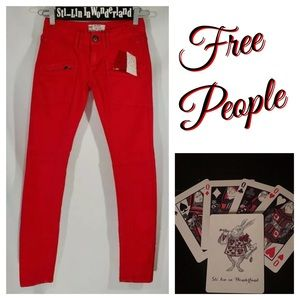 New Free People Moto Skinny Jeans Sz 24 Red